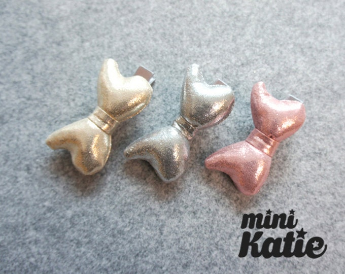 mini Katie Glossy Glitter Bow Hair Barrette Hair clips hair Accessory for Baby girls Toddlers and girls
