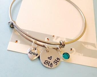 Big Sister Bracelet, Big Sister Jewelry, Sister Gift, Hand Stamped Bracelet, Personalized Bracelet, Silver Bangle