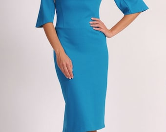 Blue Autumn Occasion dresses for women Jersey  Dresses with sleeves 3/4 Elegant dress Business  Office woman