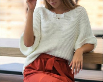 White sweater Fashion sweater Stylish clothing for women Warm women's clothing Knitted sweater autumn winter sweater Spring sweater