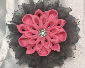 Pink Flower With Grey Shear Ribbon