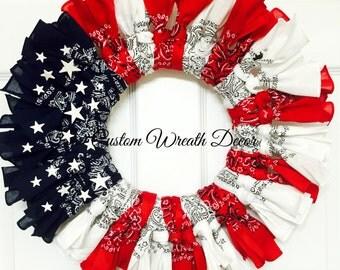 Bandana Wreath, Patriotic Bandana Wreath, Red White Blue Bandana Wreath, American Flag Bandana Wreath