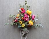 SALE!!!  40% OFF  - Boho Bouquet, Spring Bouquet, Pink Yellow Sage Bouquet, Wildflower Bouquet, Ranunculus Craspedia Billy Balls, Bohemian