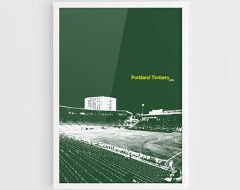 Portland Timbers, Providence Park MLS Football Poster - A3 Wall Art MLS Print Poster, Minimalist Poster, Football Poster, Sport Art