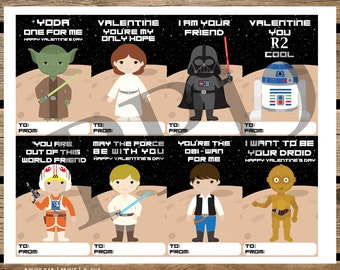 Star Wars DIY Valentine Cards, Printable Valentine Cards, Star Wars Printable, Valentine Cards, Instant Download, Star Wars Digital Files