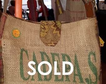 Handmade El Salvador Recycled Burlap Coffee Bag Tote