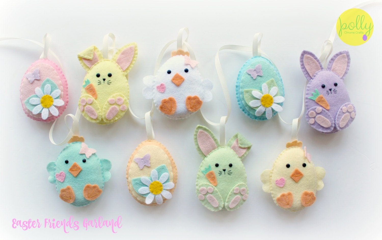 Felt Easter Friends Garland Handmade Set Of 9 Easter