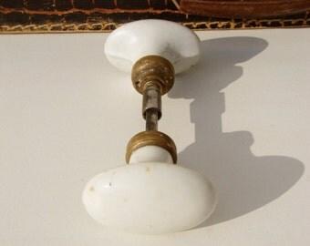 Vintage french,door knobs,door handles,white ceramic, white Porcelain,iron bar