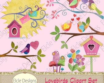 Lovebirds Clipart Set