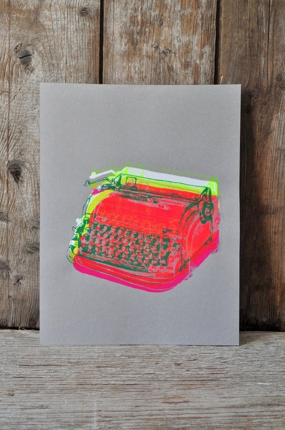 Dactylo #24, hand pulled silkscreen print, 8.5 x 11 inches, open edition.
