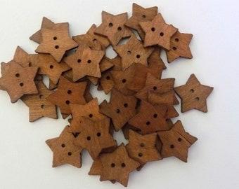 20 Little Wooden Star Buttons -  #SB- 00159