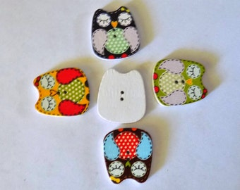 5 Wooden Owl Buttons - #SB-00282