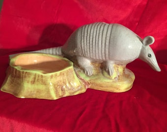 Texas Armadillo; Unique Hand Made Armadillo Cup and Toothbrush Holder or candle holder; collectible armadillo