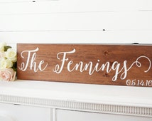 Last Name Sign- Wedding Date Sign- Bridal Shower Gift- Gift for Brides- Wedding Gift- Established Family Signs Wood- Custom Decor Sign