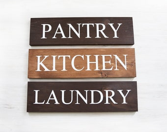 Rustic Sign Set - Farmhouse Signs - Farmhouse Decor - Rustic Home Decor - Rustic Signs for Kitchen - Laundry Sign - Room Signs- Pantry Sign