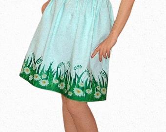 Cotton - linen dress with hem trim