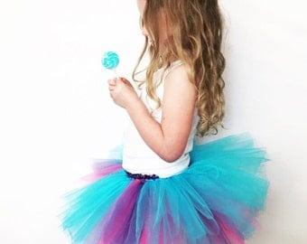 KIDS Bubblegum Circus Birthday Dress Up or Run Tutu | Purple Pink and Turquoise kids skirt | My Little Pony Halloween Costume