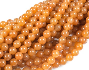 Bulk Wholesale Volume-Gorgeous Orange Adventrine, High Quality in Smooth Round, 4mm, 6mm, 10mm, 12mm- 10 Strands Per Order