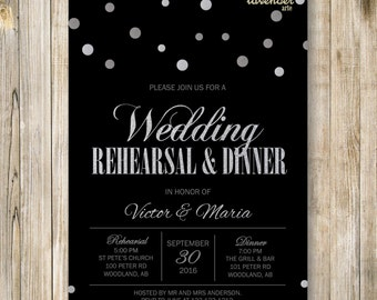 Silver Glitters WEDDING REHEARSAL DINNER Invitation, Black Silver Rehearsal Dinner Invite, Couple Shower Printables, Practice Makes Perfect
