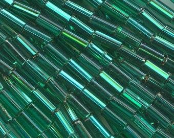 Vintage Czech 5 x 2mm silver-lined teal green bugle beads. 34 gram hank. b17-128(e)