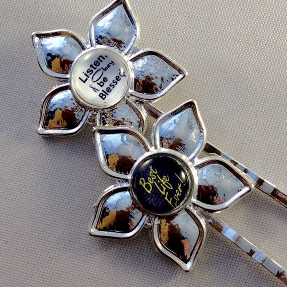 JW Hair Pins, set of 2, YHWH in gold and white OR Best Life Ever and Listen, Obey and Be Blessed.