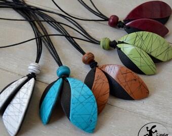 Long raku style necklace