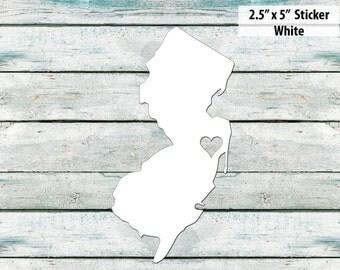 I Love New Jersey Sticker - White Jersey shore
