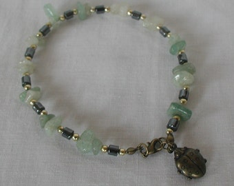 Aventurine Gemstone Chips Hematite Beads Anklet Ankle Bracelet Ladybug Ladybird Charm Bronze Tones