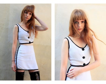 Vintage 1960's Two Piece Black Trim White Tennis Mini Skirt with Matching Button Down Crop Top Bralet SZ XS