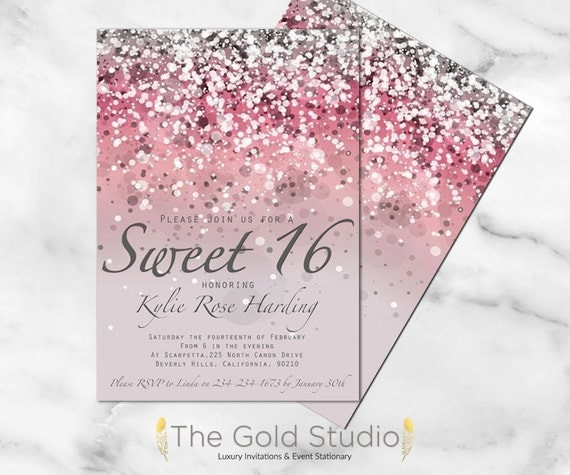 Agile image with printable sweet 16 invitations