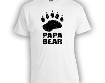 Papa Bear 2.1 Fathers Day Gift - Distressed Design Dad Shirt Step Dad Step Father Mens Clothes Birthday Shirt TShirts Shirts New Dad CT-328
