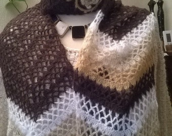Mohair and acrylic beige color Beanie and scarf set
