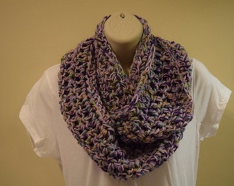 crocheted infinity scarf circle scarf,  multicolor purple