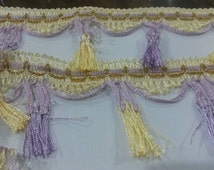 2 Yards 10 Colors PURPLE Brown Green Blue Pink Red Purpe Yellow Curtain Pillow Tassel Fringe Lace Trim 2.75 Inches Wide