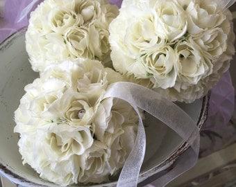 """Silk Rose Pomander, 4 1/2"""", Flower Ball, Kissing Ball, Flower Girl, Toddler Flower Girl, Wedding Decorations, Home Decor"""