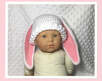 LittleBits Newborn Baby Crocheted Pink/White Floppy Ear Easter Bunny Beanie - Australia