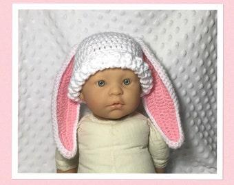 Newborn Baby Crocheted Pink/White Floppy Ear Easter Bunny Beanie