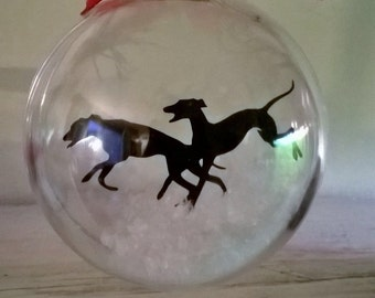 Double Greyhound Dog Silhouette in Snow Acrylic Bauble can be Personalised