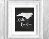 North Carolina State Print North Carolina Love State Love State Love Print North Carolina State Map Print Map Art Geography Print State Sign
