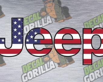 American Flag Jeep Vinyl Decal