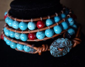 Three wrap leather bracelet