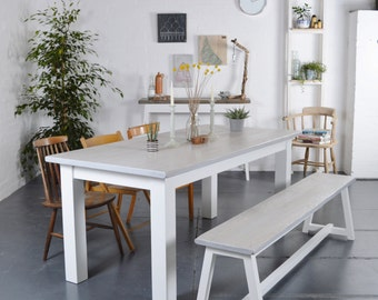 Grey Wash Plank Dining Table