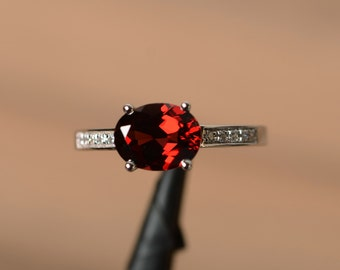 garnet ring red gemstone January birthstone ring