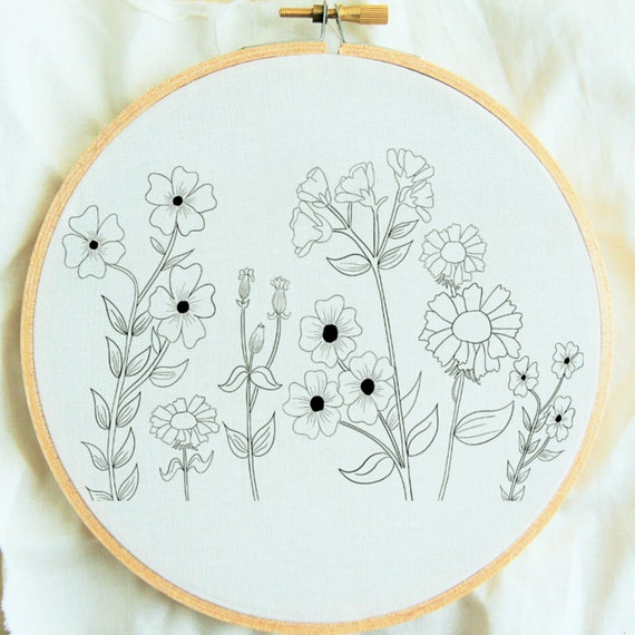 Flower study hand embroidery pattern