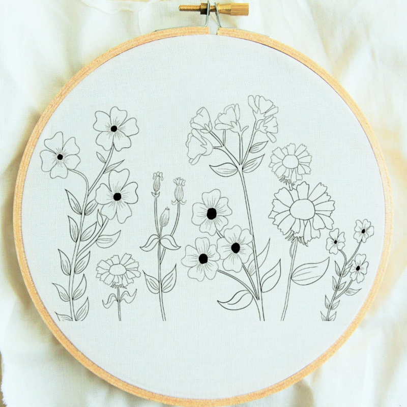 Flower study hand embroidery pattern hoop