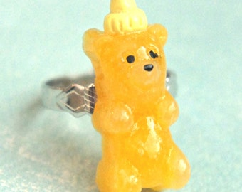 honey bear  ring - miniature food jewelry, food ring