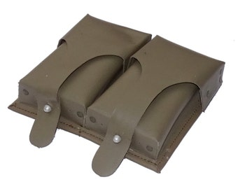 Ex-Army Double Belt Pouch Waterproof Green German Army 1980s G3 Ammo Duo Twin Pouch With Metal D Ring