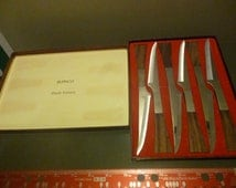 Mid Century Burnco Set of Serrated SS Steak Knives with Teak Wood Handles