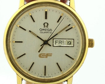Vintage Omega Day/Date Gold Plated Case Lizard Grain Swiss Quartz Men's Watch