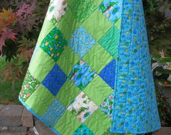 Baby Boy Quilt, Frog Baby Quilt, Patchwork Baby Blanket, Blue Green Quilt, Toddler Bed, Frogs, Bugs, Homemade Quilt